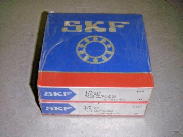 SKF 1/2 Set 7015 CD/P4ADGA Precision Bearing Matched Set 1-Pair Factory Sealed